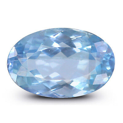 1.69Cts.Unheated Natural IGI Certified Oval Cut Light Blue Aquamarine Gemstone