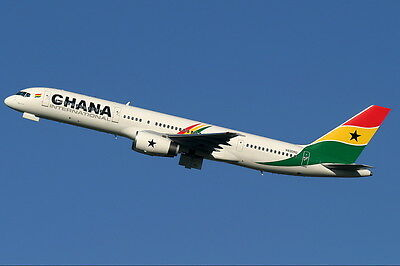 Ghana Airlines Boeing 757 Airplane Plane Full colour Airline postcard