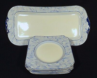 1935 Royal Doulton 7 Pce Savoury Tray & 6 Side Plates Art Deco Envoy D5423