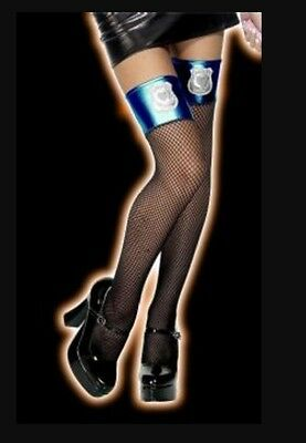 Pvc Top Black Fishnet Police Thigh High Hold Up Stockings Cop Badge