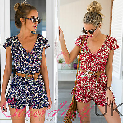 .UK Womens Holiday Print Mini Playsuit Ladies Jumpsuit Summer Shorts Beach Dress