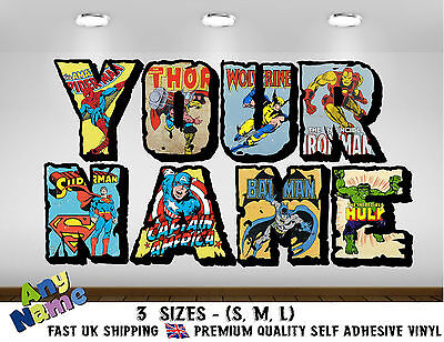 Personalised Marvel Wall decal stickers Kids Avengers Name - 3 SIZES -  (S5)