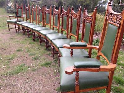 Rare Set 10 Edwardian Gothic Antique Chairs 2 Carvers