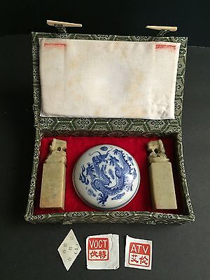 Vintage Chinese Jade Shou Shan Foo Dog Chops/Seal w Porcelain Jar/Wax/Box