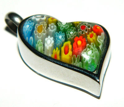 Premium murano glass abstract heart cremation keepsake pendant with 925 NECKLACE