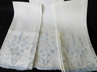 Old Linen Embroidered Hand Towels - Blue Flowers