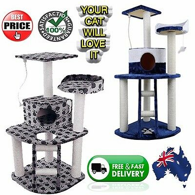 Cat Kitten Grooming Scratching Tree Post Gym Furniture Tower Hanging Mouse Toy