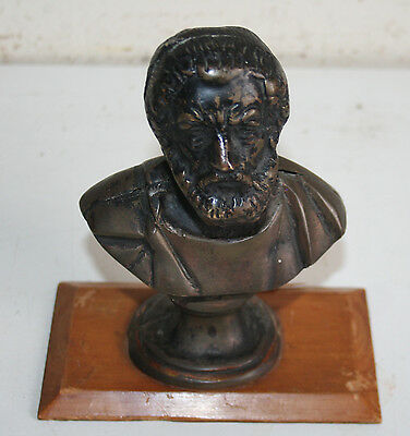 "Old 5"" Height Metal Bust of Ancient Greek Poet Homer / Homeros"