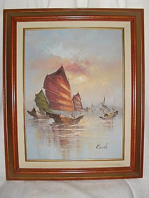 "EUC Vintage Oil On Canvas Signed Kwok Asian Seascape Framed Art 17"" x 20"""