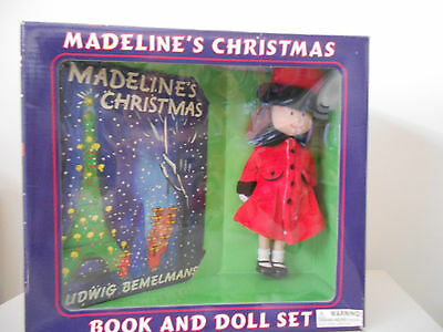 Madeline Christmas Book & Doll Red Coat Hat Shoes Original Face New in Box