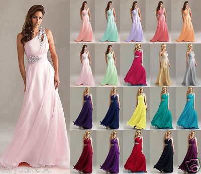 Evening Party Club Ball Gown Wedding Bridesmaid Dress UK Size 12 14 16 18 #9069