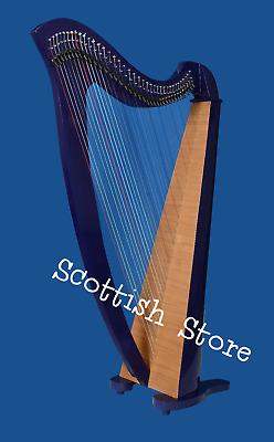 38 Strings lever Harp Round Back Harp  Made Peach Wood Free Deluxe Bag & key