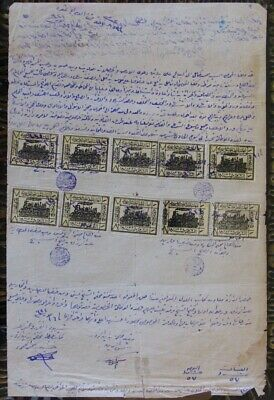 Syria 1920 Doc W/ Ottoman Matches Revenue Stamps Ovpt Hedjaz Railway Train Aid
