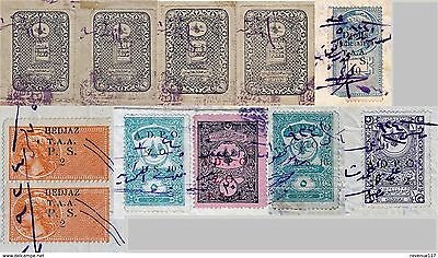 Syria Doc Hedjaz Taa & Ottoman Deed Revenue Stamps Ovpt Alaouites Territories