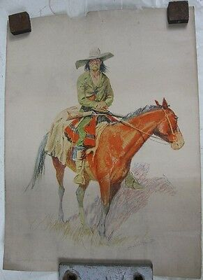 1901 Robert Howard Russell Frederic Remington Print Indian on Horse #1
