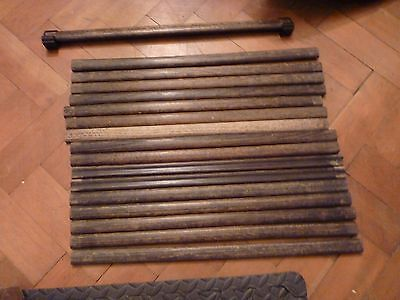 Antique 1930's oak stair carpet rods WITH bakelite BYSON holders/brackets/clips