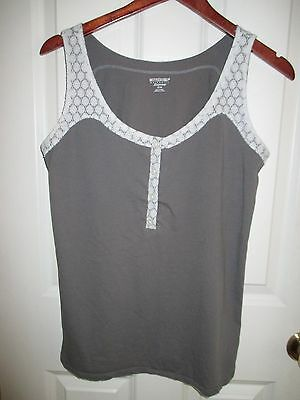 Motherhood Maternity Sleepwear Sleeveless Shirt Gray Medium cotton