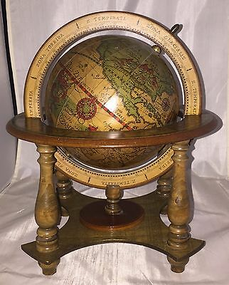 Vintage Olde World Spinning Globe Made In Italy Zodiac Desk Top * NICE *