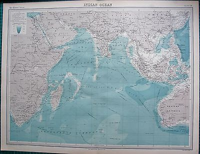 1922 Large Antique Map- Indian Ocean