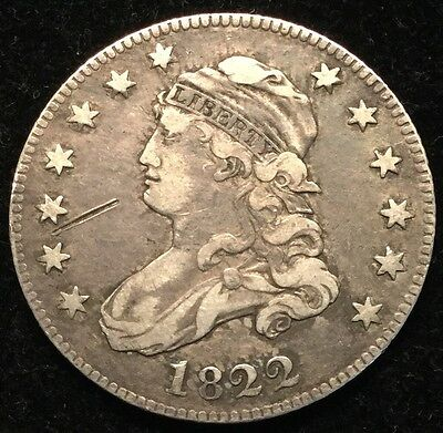 1822 25C Capped Bust Quarter/ Mark In Front Of Chin- VF #