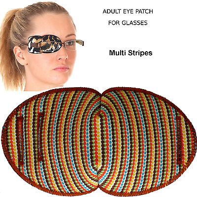 Medical Eye Patch for Glasses, STRIPES. Soft and Washable