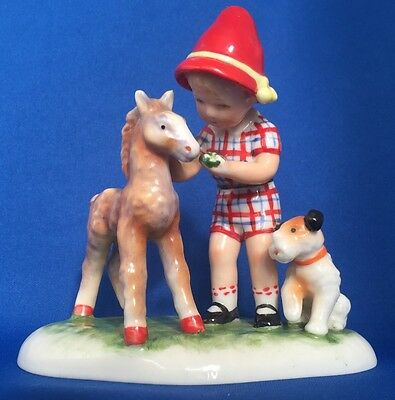 Goebel Kathe Kruse Figurine Child With Foal & Dog 1955 KRU 4 Superb Condition