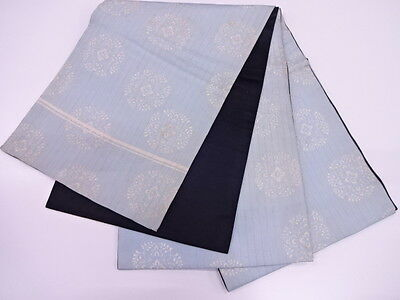 Antique Japanese Chuya Obi For Kimono, Beautiful Craft Material, Silk / Blue
