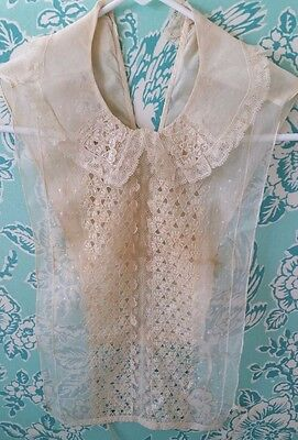 SALE !! Antique Stunning Victorian Lace Jabot Bib Overlay Embroidery Edwardian