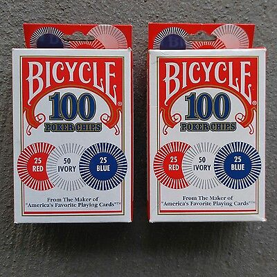 BicyclePokerChips 2 Sets / 100 in 3 Colors Casino Style Durable Plastic