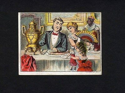 DILWORTH'S COFFEE Trade Card 1880s FAMILY Child DOLL African American Maid