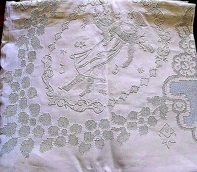 Sale! Beauty Vintage Figural Appenzel Embroidry & Punchwrk Tablecloth &12 Napkin