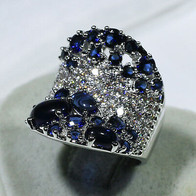 18K White Gold Filled AAA Sapphire CZ Women Fashion Jewelry Ring R7011 Size 5-10