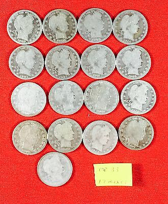 Lot of 17 Mixed Dates Barber Quarters USA 90% Silver .900 MP33