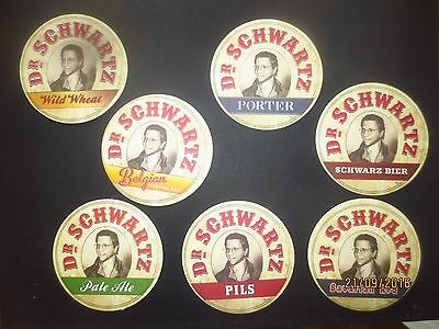 complete set of 7 Dr.SCHWARTZ Brewery,New South Wales BEER COASTERS Collectabl