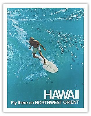 Northwest Orient Airlines HAWAII - 1970s Vintage Travel Poster Fine Art Print
