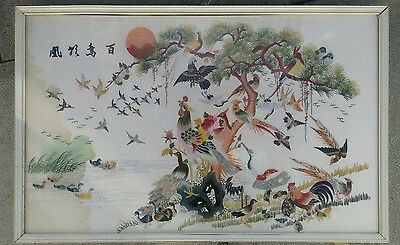 hand sewn chinese silk embroidery textile