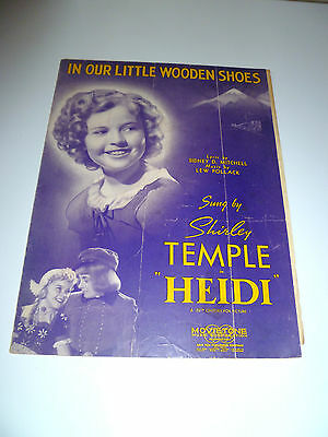 In Our Little Wooden Shoes Shirley Temple Heidi Sheet Music 1937