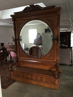Gorgeous Oversize Antique Carved Oak Hall Seat