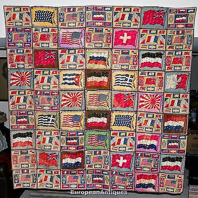 "Antique 1900-1920's Tobacco Cigar Felt World Flag Quilt Blanket Vintage 68""x72"""
