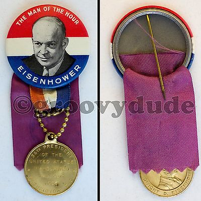 Ike President Eisenhower Man Of The Hour Inaugural Pinback Button Medal Ribbon