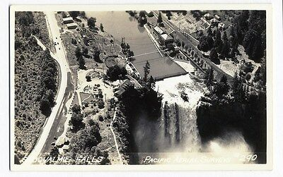 SNOQUALMIE FALLS Washington REAL PHOTO Postcard c 1930-40s Aerial View