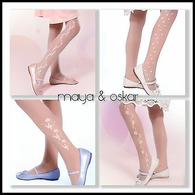 Girls White Patterned Tights Communion Bridesmaid Sheer Hosiery 20 DEN 5-10+yrs