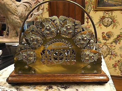Antique English Wood & Brass Newspaper Letter Holder Victorian