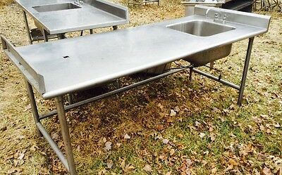 """Stainless Steel Worktop Table With Sink And End Backsplash 83.5"""" X 36"""""""