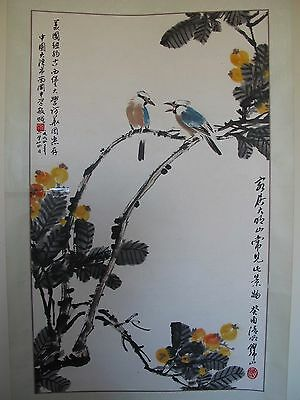 VINTAGE CHINESE FlOWERS AND BIRDS SCROLL PAINTING, SIGNED & SEALED