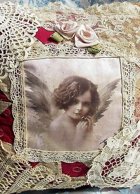 Antique Hand Made Quilt Lace Pillow Vintage Cherub Angel Photo Patchwork Fabric