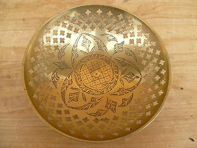 Vintage Old Asian Style Brass Decorated Dish, Bowl (E235)