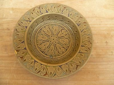 Vintage Old Asian Style Brass Decorated Dish, Pin Dish  (E238)