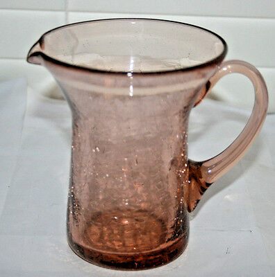 "Dark Pink Crackle Glass Pitcher,Applied Handle,Wide Mouth,5 1/8""H"