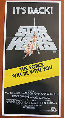 STAR WARS (1977) Original Australian Daybill Movie Poster R81 George Lucas